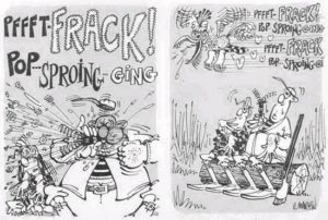 A page from Mad Magazine showing cartoon with sound effects in word form
