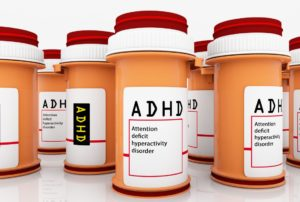 photo of bottles of pills with ADHD written on each one