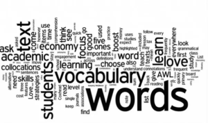 picture of a word cloud with words related to the word vocabulary