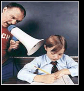 photo of a teacher using bullhorn to get a student's attention