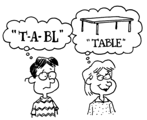 Cartoon showing the thought clouds of two kids showing ''t-a-bl'' and ''table''