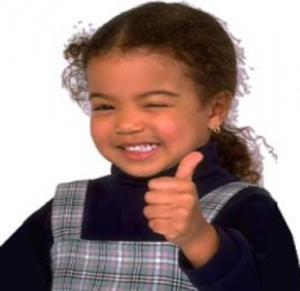 Photo of young girl giving the thumbs up sign