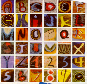 photo of the alphabet as seen by naturally occurring letters on the backs of butterflies