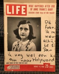 the cover of Life magazine August 18, 1958, showing photos of Anne Frank and her diary