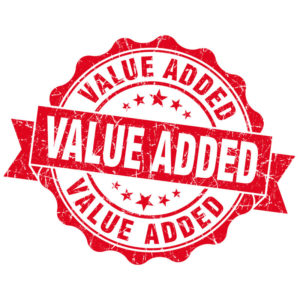 a graphic ''seal of approval'' logo saying ''value-added'' on it