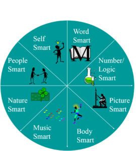 diagram of a wheel with the eight intelligences in the slices