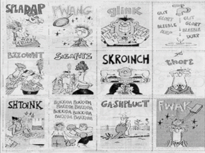 Mad Magazine series of twelve cartoons showing high action scenes with accompanying made-up word like ''Spladap!''