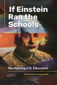 cover of book showing Einstein and a brick building (i.e. school)