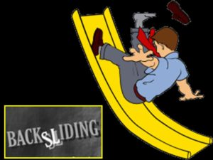 color graphic showing a student sliding backward on a yellow slide