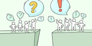 cartoon of two groups of people on separate platforms, one group with question mark balloons, and the other group with exclamation points