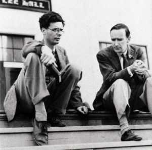 black and white photo of Aldous Huxley and Gerald Heard in 1938