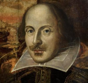 sepia head portrait of William Shakespeare