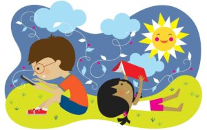 color cartoon of two kids learning outside in the sun